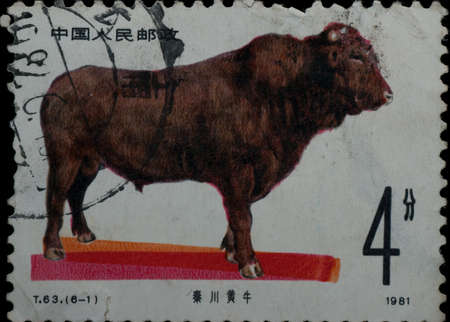 China - CIRCA 1981: A stamp printed in China shows wild animal cattle ox, circa 1981 Stock Photo - 8936129