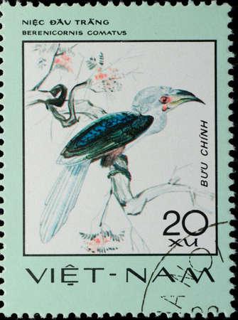 VIETNAM - CIRCA 1977: A stamp printed in Vietnam shows animal bird white-crowned hornbill Berenicornis comatus, circa 1977 photo