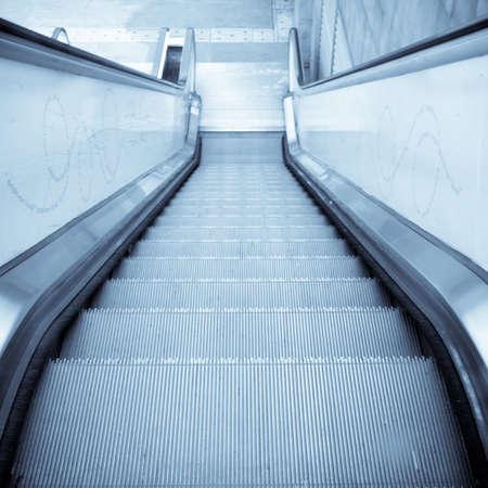 moving escalator on modern city photo