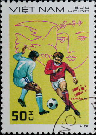 VIETNAM - CIRCA 1982: A stamp printed in Vietnam shows sport football game, circa 1982 photo