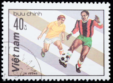 VIETNAM - CIRCA 1980s: A stamp printed in the Vietnam shows sport football game, circa 1980s photo