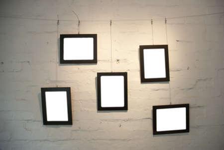 gallerie: frame on shabby wall in art museum Stock Photo