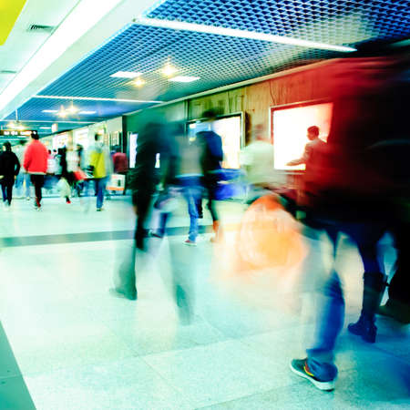 Business passenger walk at subway station at intentional motion blurred Stock Photo - 9698836