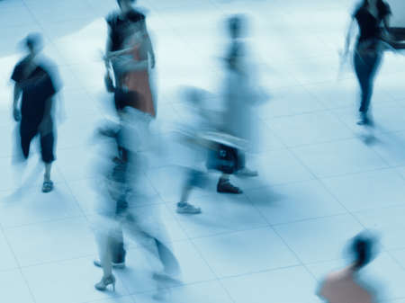 abstract business people rushing in the lobby blur motion Stock Photo - 9939609