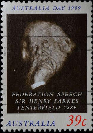 AUSTRALIA - CIRCA 1989: A stamp printed in Australia shows federation speech sir Henry Parkes Tenterfield, circa 1989