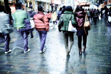 crowded space: city people on business walking street