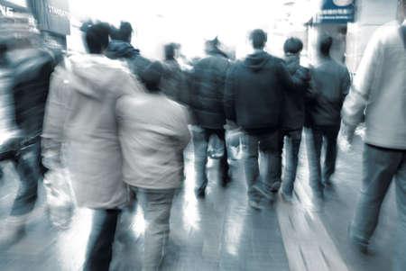 street life: city people on business walking street