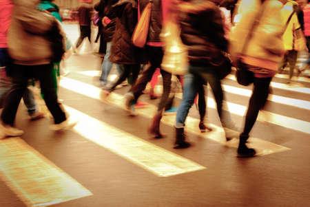 crossing: people on zebra crossing street