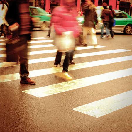 zebra crossing: people on zebra crossing street