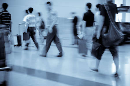 walking city passenger blur motion photo