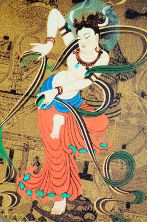 Chinese art Dunhuang wall painting mural Stock Photo - 10752170