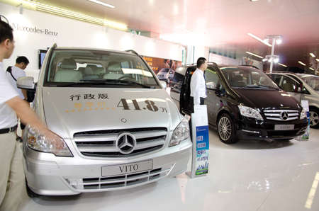 GUANGZHOU, CHINA - OCT 02: Mercedes benz VITO car on display at the Guangzhou daily Baiyun international automobile exhibition. on October 02, 2011 in Guangzhou China.