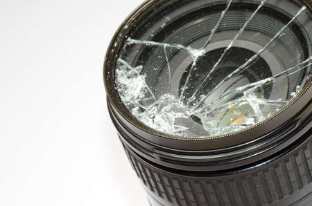 dslr camera: Broken DSLR camera lens Stock Photo