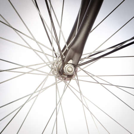 spoke: bicycle detail isolated on white Stock Photo