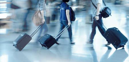 airport terminal: walking city passenger blur motion Stock Photo