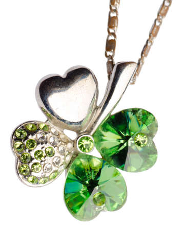 green fourleaf clover jewel pendant isolated on white Imagens