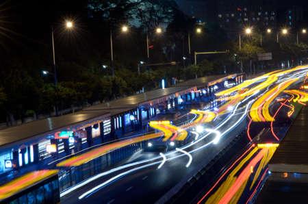 busy big city traffic trail night cityscape at Guangzhou China Stock Photo - 11624909