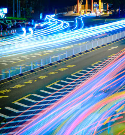 busy big city traffic trail night cityscape at Guangzhou China Stock Photo - 11624833