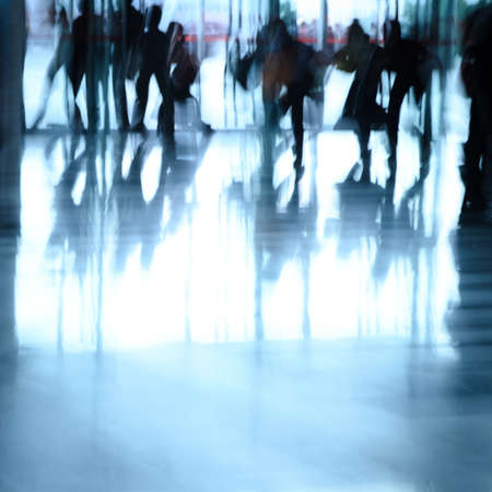 footpath: city business people abstract background blur motion