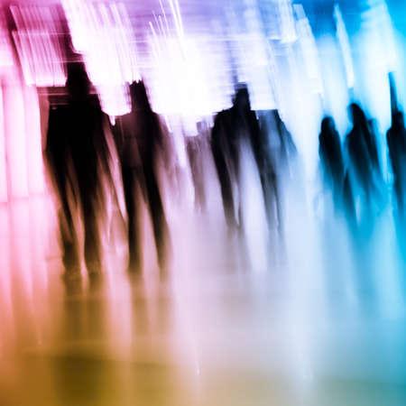 blur subway: Business passenger walk at subway station Stock Photo