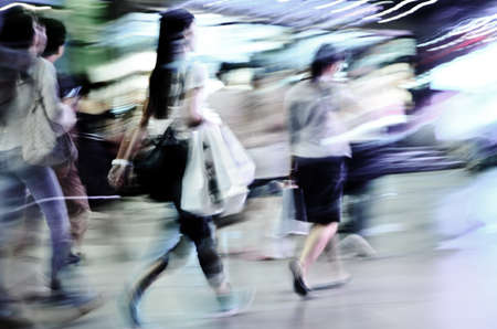busy street: business people abstract background blur motion Stock Photo