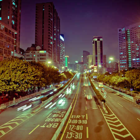 busy big city night traffic blur motion in Guangzhou China Stock Photo - 11730257