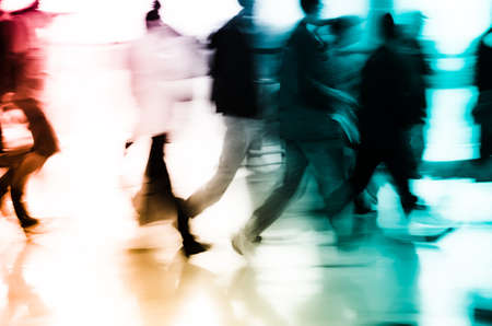 high street: city business people abstract background blur motion