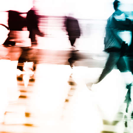 obscured face: city business people abstract background blur motion