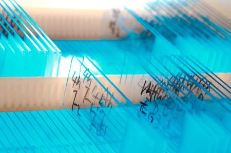 Medizinische Biologie Geräte Hintergrund Glasobjektträger Standard-Bild - 11728299