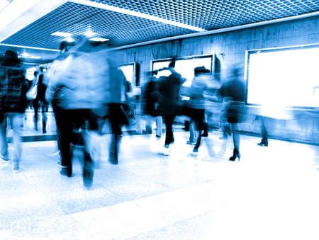 blur subway: Business passenger walk at subway station at intentional motion blurred