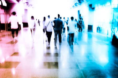 blur subway: city people on business walking street blur motion