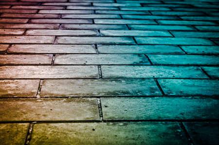 surface closeup: brick road background Stock Photo