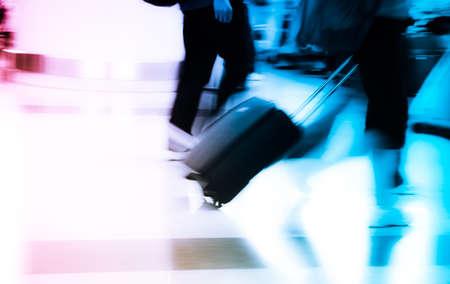 walking city passenger blur motion Stock Photo