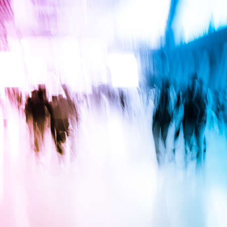 the blue hour: city business people crowd abstract background
