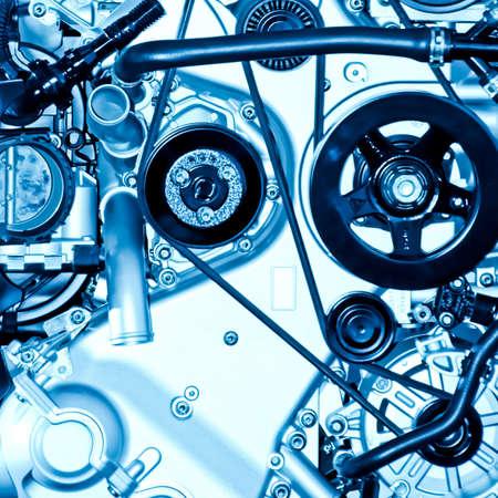 new automobiles: car engine part close up