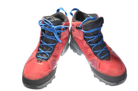 new red hiking shoe isolated photo