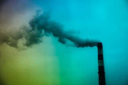 carbon emission: industrial pollution smoke from chimney