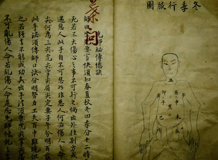 cinese vecchio libro scritto mistero medico Archivio Fotografico - 12641041