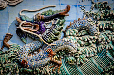 Chinese stone dragon carving relief