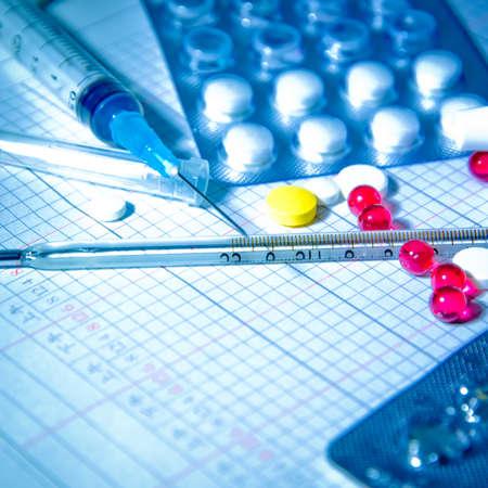 medical background pill temperature gauge  syringe