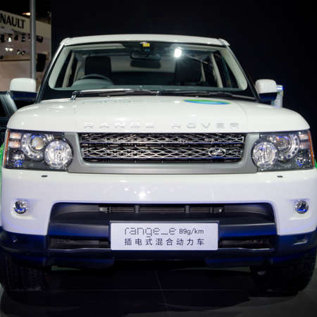GUANGZHOU, CHINA - Nov 26: Range Rover Range-E car on display at the 9th China international automobile exhibition. on November 26, 2011 in Guangzhou China.