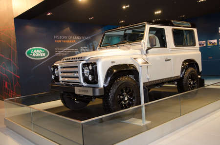 defender: GUANGZHOU, CHINA - Nov 26: Range Rover Defender car on display at the 9th China international automobile exhibition. on November 26, 2011 in Guangzhou China.