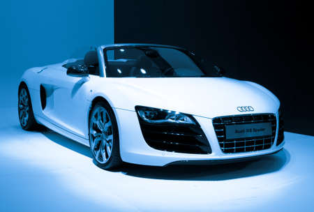 GUANGZHOU, CHINA - Nov 26: Audi R8 Spyder sports car on display at the 9th China international automobile exhibition. on November 26, 2011 in Guangzhou China.