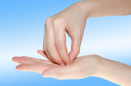washing hand: professional medical hand washing gesture isolated on white Stock Photo