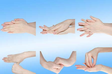 lavare le mani: medico lavaggio mano gesto isolato su bianco Archivio Fotografico