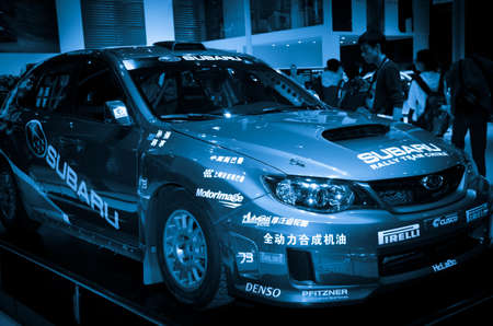 GUANGZHOU, CHINA - Nov 26:  Subaru race car on display at the 9th China international automobile exhibition. on November 26, 2011 in Guangzhou China.