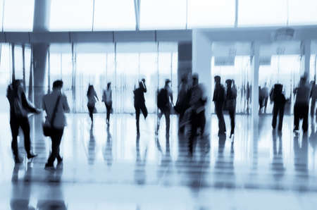 blurred people: city business people abstract background blur motion