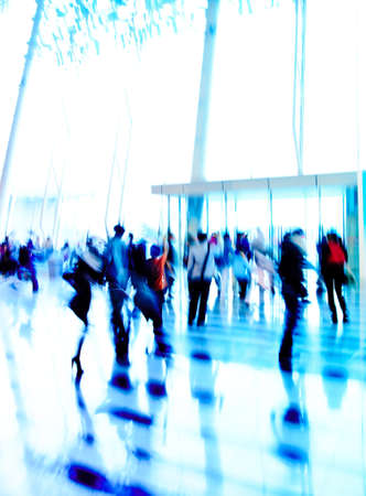business people walking: city business people abstract background blur motion