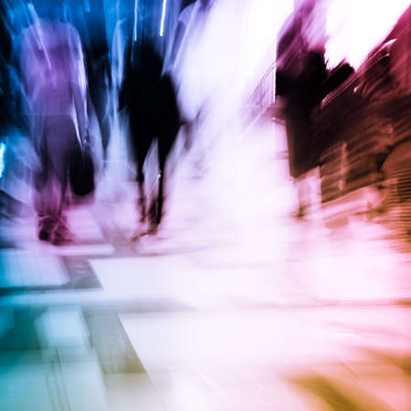 the blue hour: city shopping people crowd at marketplace abstract background