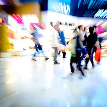 city shopping people crowd at marketplace abstract background photo
